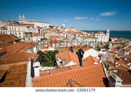 View from Mirador de Santa Lucia, Lisbon, Portugal - stock photo