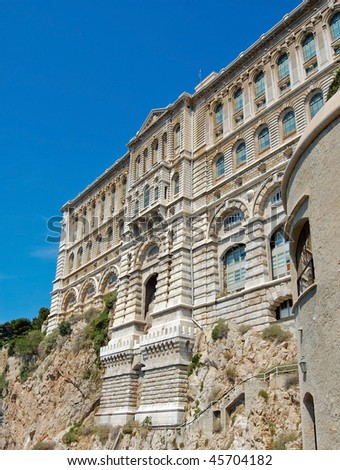 View from Monaco bay with Museum of Oceanology