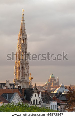 View from Mont des Arts in Brussel with church and basilica in background - stock photo