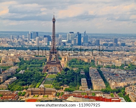View from Montparnasse tower to the Paris city. France. - stock photo