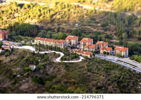 View from Montserrat, Catalonia, Spain. Tilt-shift. - stock photo
