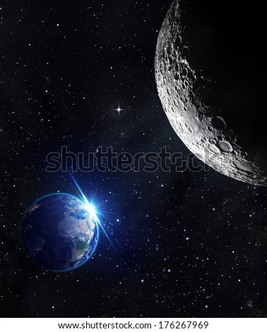 view from moon - sunrise of earth - Europe  - Elements of this image furnished by NASA - stock photo