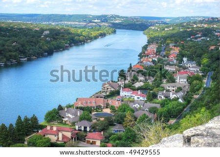 view from mount bonnell in austin, texas, usa - stock photo