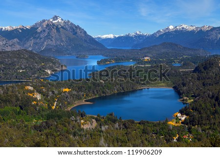 View from Mount Campanario, Bariloche, Patagonia, Argentina - stock photo