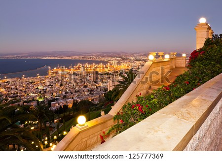 View from Mount Carmel to port and Haifa in Israel - stock photo