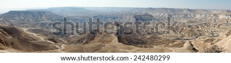 View from mount Hod Akev in Negev desert, Israel                                - stock photo