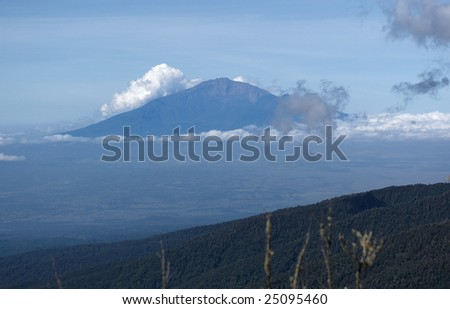 View from mount Kilimanjaro on a mount Meru near Arusha. Tanzania. - stock photo