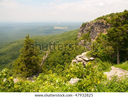 view from Mount Magazine state park bluff - stock photo
