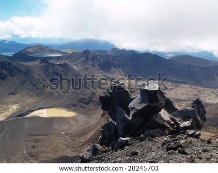 View from Mount Ngauruhoe to Mount Ruapehu and Tongariro Alpine Crossing - stock photo