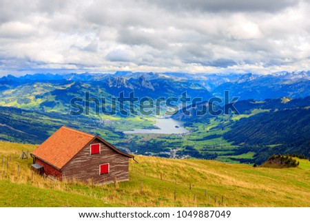 View from Mount Rigi,a mountain massif of the Alps, Central Switzerland.