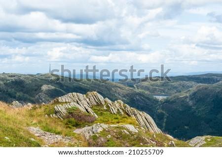 View from mount Ulriken near Bergen city in Norway - stock photo