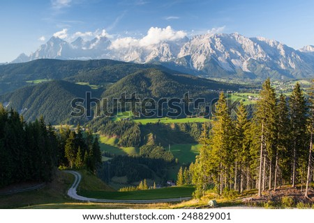 View from mountain to the valley near the Schladming city in Austria - stock photo