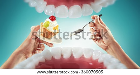 View from mouth. Fast food and sweets. Diet - stock photo
