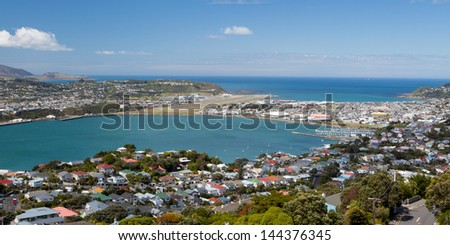 View from Mt Victoria towards Wellington airport in Wellington, New Zealand - stock photo