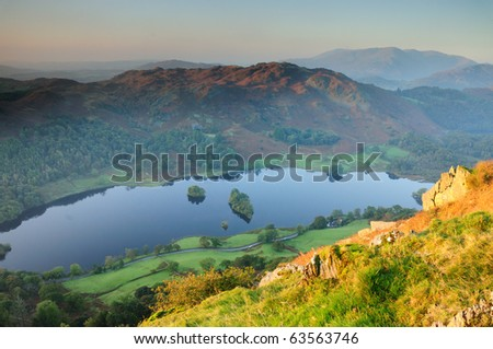 View from Nab Scar over Rydal Water towards Wetherlam and the Coniston Fells in the English Lake District - stock photo