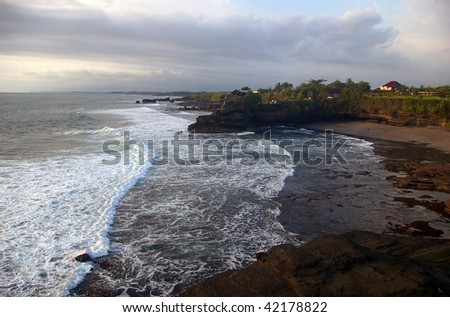 View from one of the temples at Tanah Lot, Bali, Indonesia. - stock photo