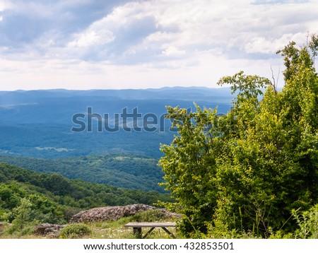 View from Papiya Peak in Bulgarian Strandzha mountain, Bulgaria - stock photo