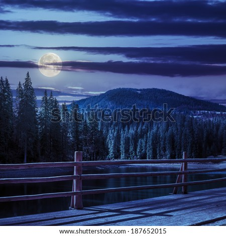 view from pier on lake near the pine forest on mountain background at night in moon light - stock photo