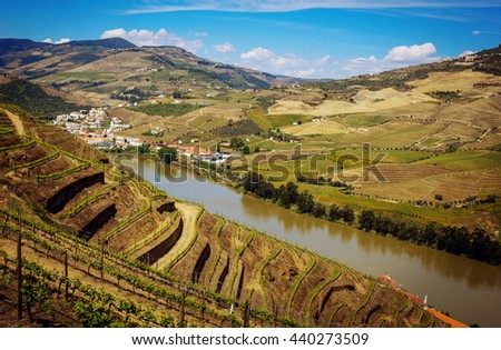 View from Pinhao village in Portugal to Douro valley and river, Portugal - stock photo