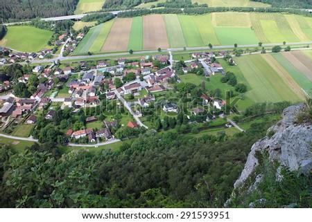 View from Pittentaler Klettersteig to Gleissenfeld, Austria - stock photo