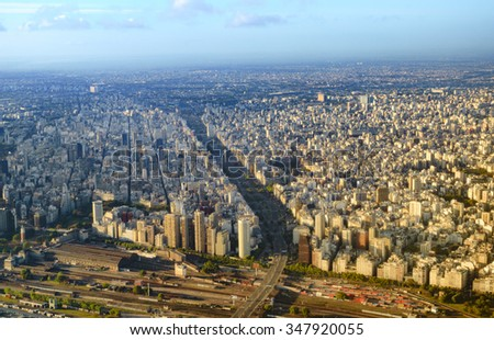 View from plane of Buenos Aires Argentina - stock photo