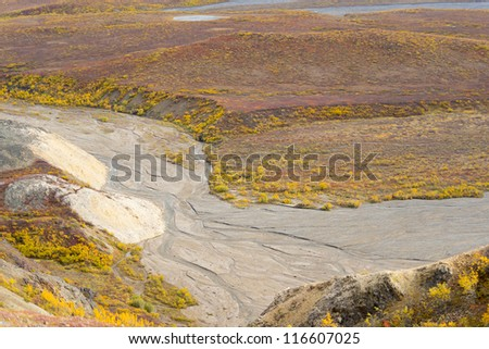 View from Polychrome Pass in Denali National Park, Alaska - stock photo