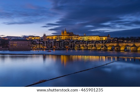 View from Prague castle at night