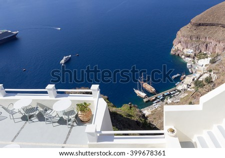 view from restaurant terrace at Aegean Sea in Santorini island, Greece - stock photo