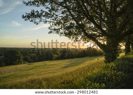 View from Richmond Hill in London over landscape during Summer sunset - stock photo