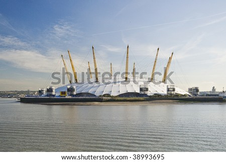 view from river thames over millennium dome in london - stock photo