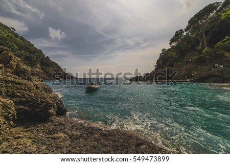 View from San Fruttuoso, Italy Beach