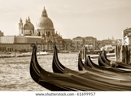 View from San Marco on the Maria della Salute, Venice - stock photo