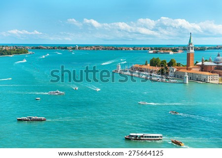 View from San Marco to San Giorgio island, Venice, Italy - stock photo