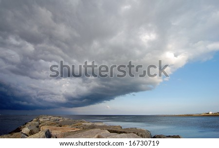 View from Sandwich, MA of Impending Storm over Cape Cod Bay - stock photo