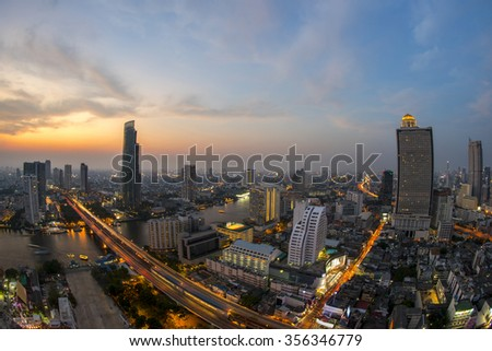 View from Sathorn unique tower on last day, Bangkok city