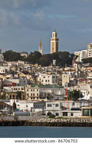 View from sea to the old town of Tangier, Morocco - stock photo
