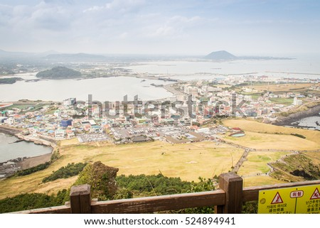 "View from Seongsan Ilchulbong (""Sunrise Peak""), one of the UNESCO nature tourism site on Jeju Island in South Korea"