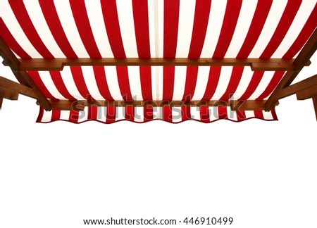 View from shade below red white striped awning - stock photo