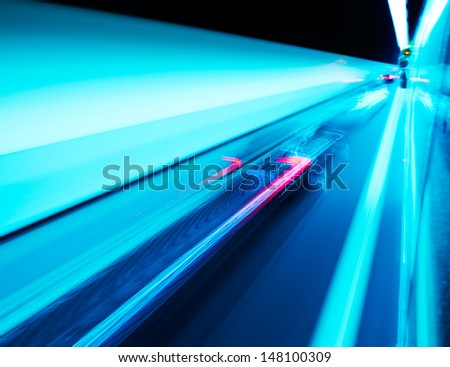 View from Side of high-speed car in the tunnel, Motion Blur