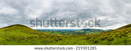 View from Slievebawn to Croaghaun - stock photo