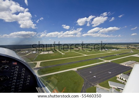 View from small aircraft of mid west USA - stock photo
