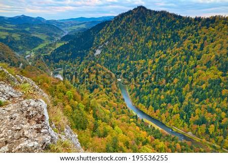 View from Sokolica Mountain to Slovakia. The Dunajec River Gorge. Pieniny National Park idyllic landscape, Poland. Carpathians. Natural national border between Poland and Slovakia. - stock photo