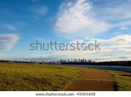 view from South Head Park to Sydney CBD. Australia. - stock photo