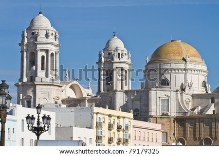 View from south to the cathedral of Cadiz, spain. - stock photo