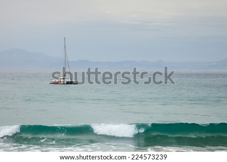 View from Spain (Tarifa) to Morocco - Gibraltar Straight measuring only 12km - stock photo
