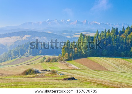 View from Spisz to The Tatra Mountains. Morning landscape. Poland - stock photo