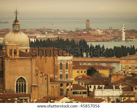 View from St Mark's Campanile to Venice lagoon