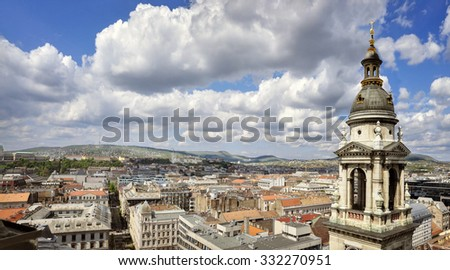 View from St. Stephan basilica, Budapest Hungary - stock photo