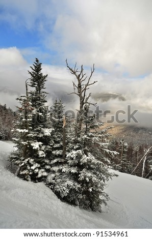 View from summit of Wildcat ski area in New Hampshire at early winter - stock photo