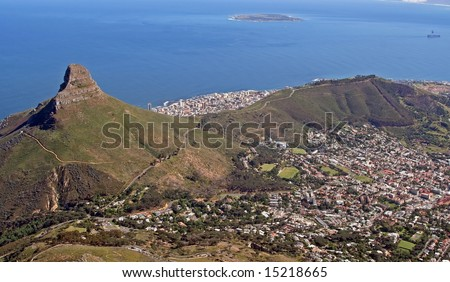 View from Table Mountain at Cape Town (Coast and Lions Head/Signal Hill), South Africa - stock photo